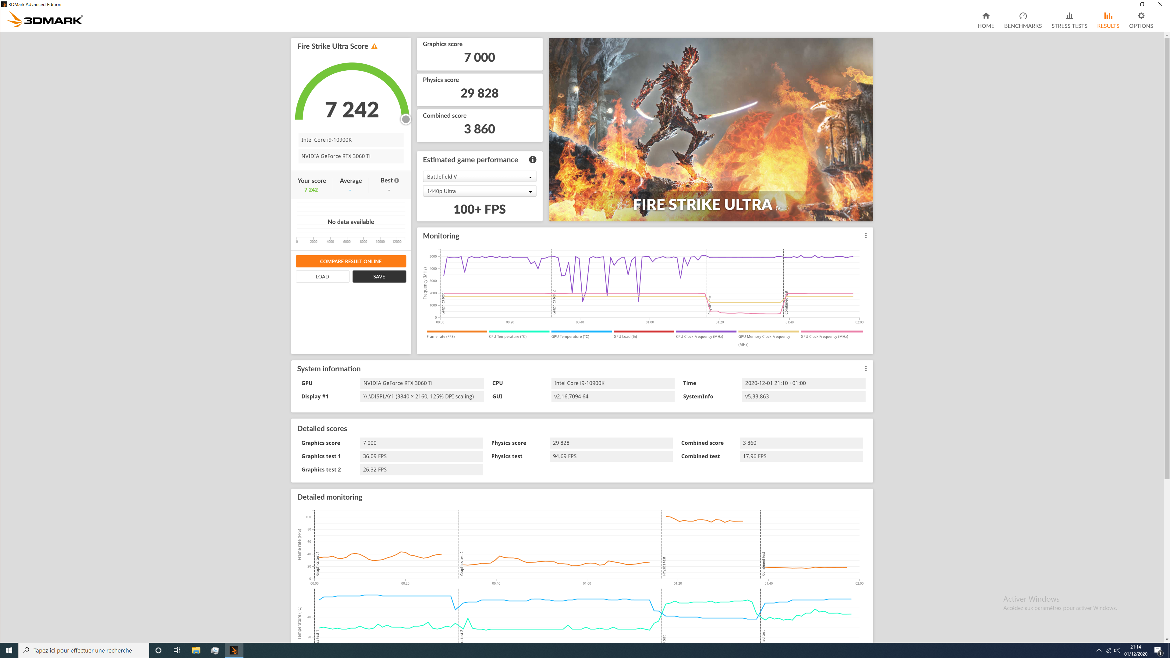 fire strike ultra stock rtx3060ti